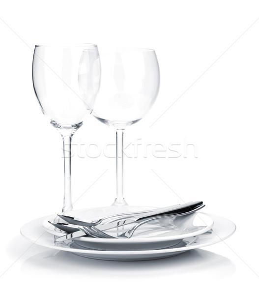 Silverware or flatware on plates and wine glasses Stock photo © karandaev