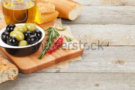 Vino tinto queso prosciutto pan hortalizas especias Foto stock © karandaev