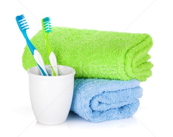 Dos colorido toallas aislado blanco cuerpo Foto stock © karandaev