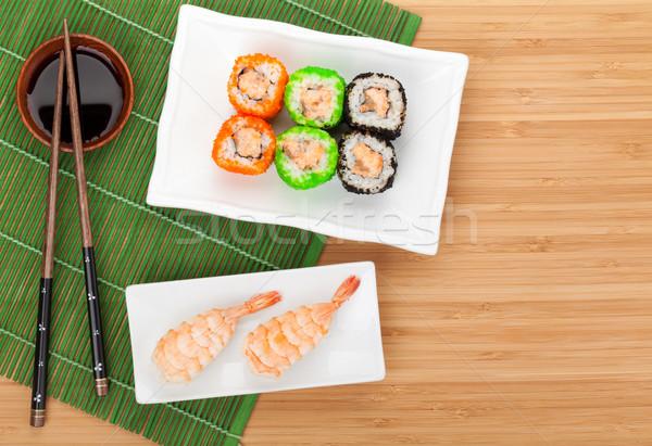 Sushi maki camarão bambu tabela cópia espaço Foto stock © karandaev