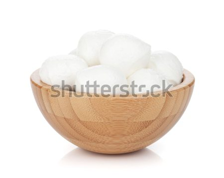 Mozzarella queso tazón aislado blanco alimentos Foto stock © karandaev