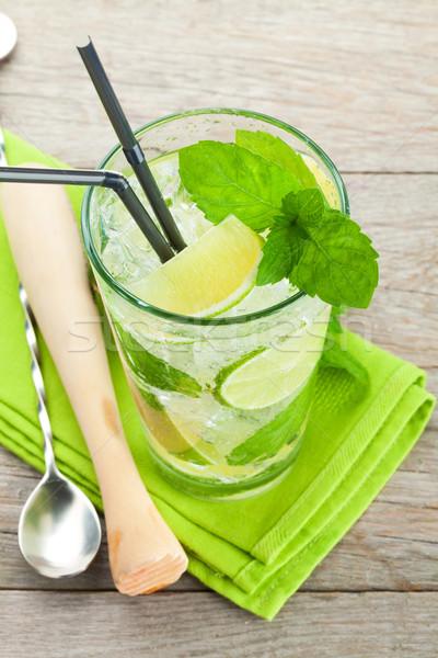 Fresh mojito cocktail and bar utensils Stock photo © karandaev