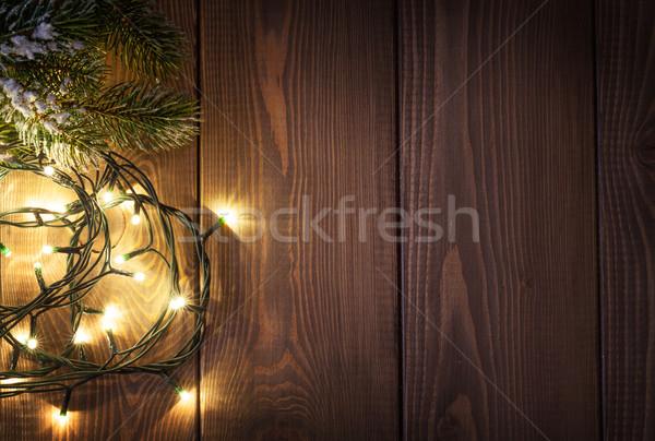 Karácsony fények hó fenyőfa fából készült copy space Stock fotó © karandaev