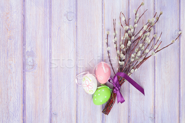 Pussy willow and easter eggs Stock photo © karandaev