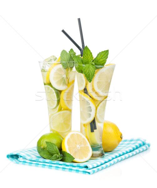 Caseiro limonada isolado branco água fruto Foto stock © karandaev