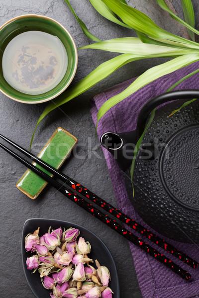 Asian sushi pałeczki do jedzenia wzrosła herbaty czajniczek Zdjęcia stock © karandaev