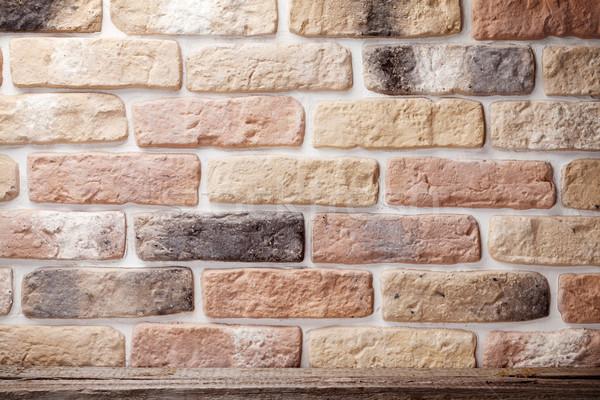 Fából készült polc téglafal kilátás copy space fa Stock fotó © karandaev