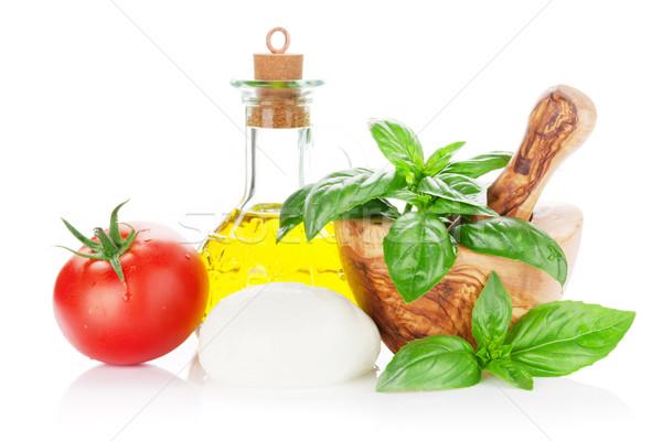 Queijo azeite tomates manjericão erva Foto stock © karandaev