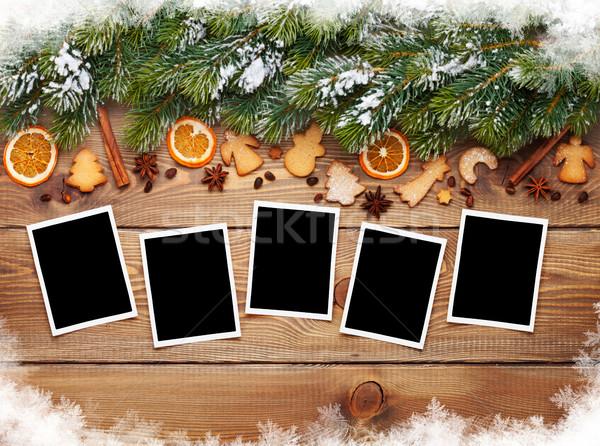 Christmas photo frames, tree, cookies Stock photo © karandaev