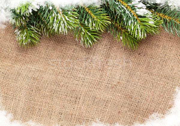 Noël neige toile de jute texture haut Photo stock © karandaev