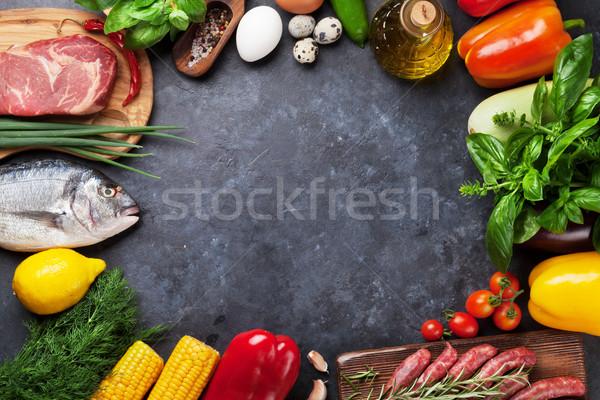 овощей рыбы мяса приготовления Ингредиенты помидоров Сток-фото © karandaev