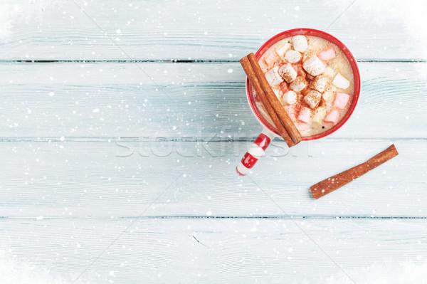 Chocolat chaud guimauve table en bois haut vue espace de copie Photo stock © karandaev