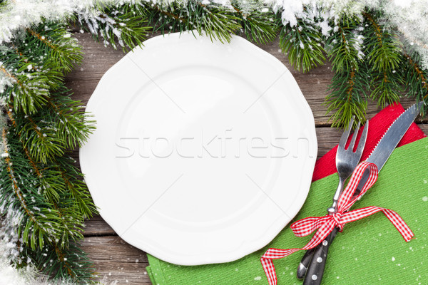 Noël dîner plaque argenterie haut Photo stock © karandaev