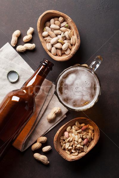 Alman birası bira fındık taş tablo üst Stok fotoğraf © karandaev