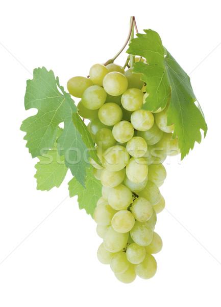 Foto stock: Branco · uvas · folhas · isolado · vinho · natureza