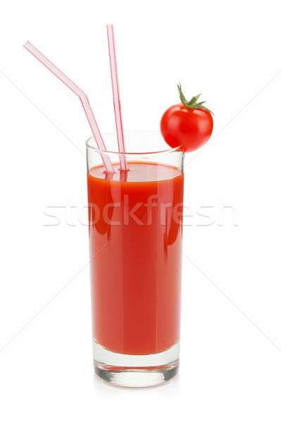 トマトジュース ガラス 飲料 わら 孤立した 白 ストックフォト © karandaev