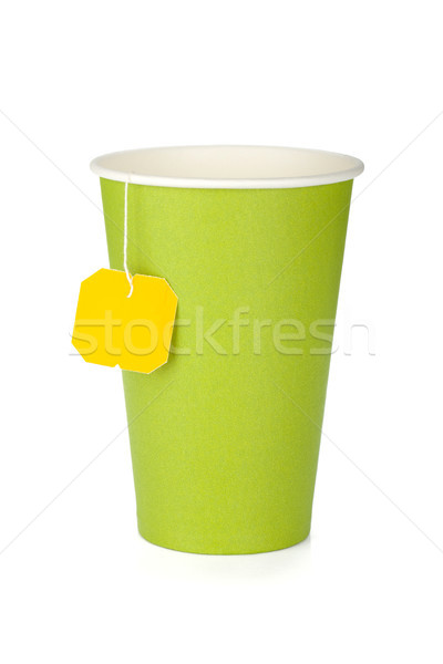 Cardboard tea cup with teabag Stock photo © karandaev