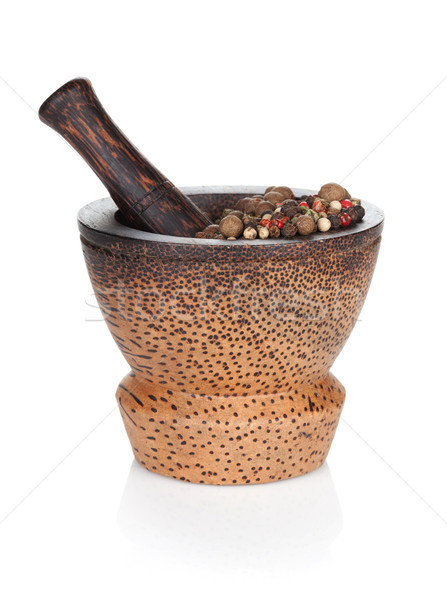Mortar and pestle with peppercorn Stock photo © karandaev