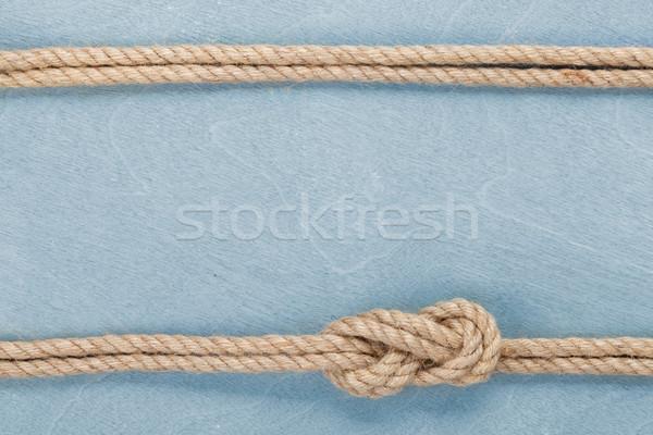 Navio corda nó textura azul Foto stock © karandaev