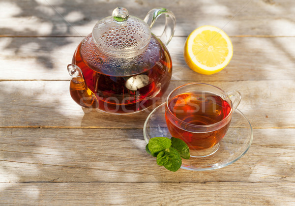 завтрак чай таблице саду Солнечный весны Сток-фото © karandaev