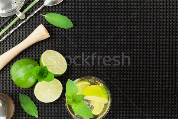 Mojito koktél hozzávalók fekete gumi felső Stock fotó © karandaev