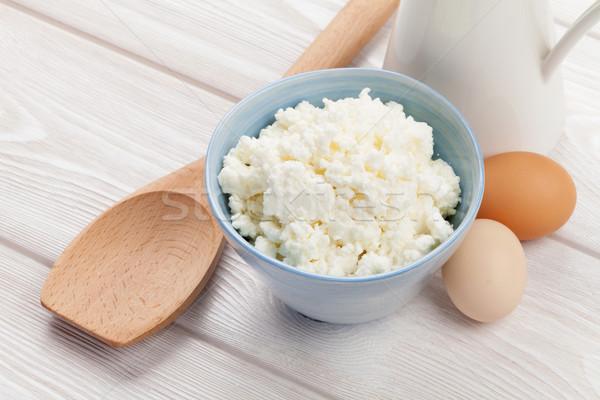 Eieren melk houten tafel voedsel glas Stockfoto © karandaev