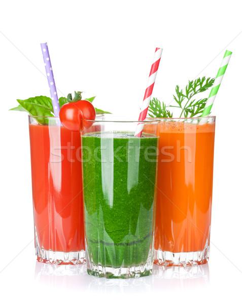 Fresh vegetable smoothie. Tomato, cucumber, carrot Stock photo © karandaev