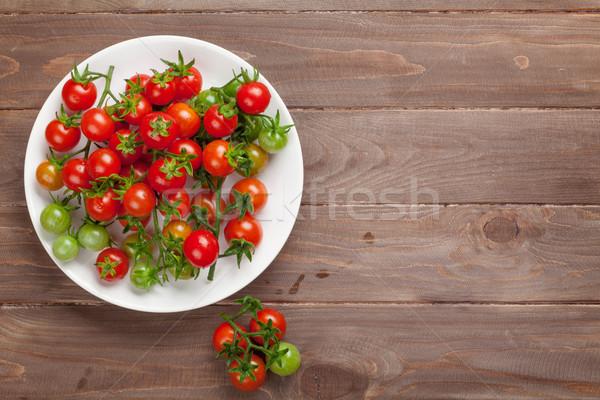 помидоры черри пластина деревянный стол Top мнение копия пространства Сток-фото © karandaev