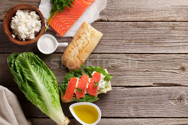 Sandwich with salmon and romaine salad stock photo ...