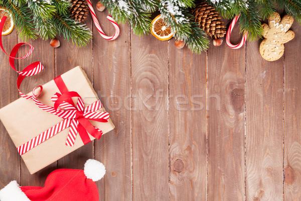 Noël coffret cadeau bois neige vue Photo stock © karandaev