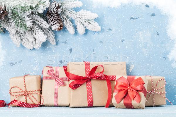 Stok fotoğraf: Noel · hediye · kutuları · kar · taş · duvar · bo