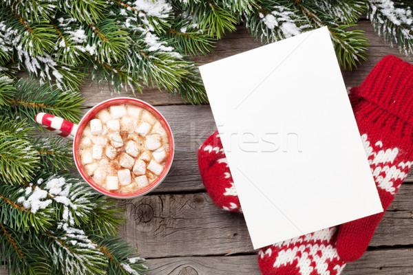 Foto stock: Navidad · tarjeta · de · felicitación · chocolate · caliente · malvavisco · mesa · de · madera