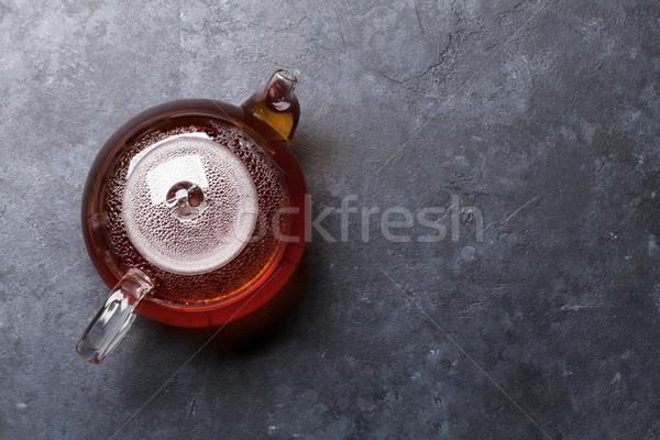 Theepot hot thee steen tabel Stockfoto © karandaev