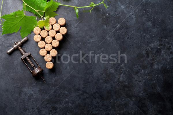 Wijn druif vorm wijnstok steen Stockfoto © karandaev