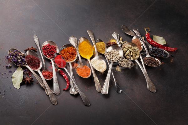 Various spices spoons Stock photo © karandaev