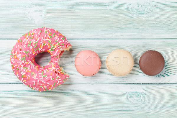 Macaroons and colorful donut Stock photo © karandaev