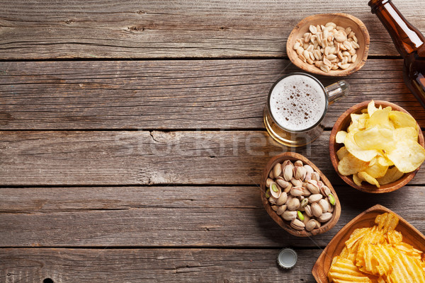 Lager beer mug and snacks Stock photo © karandaev