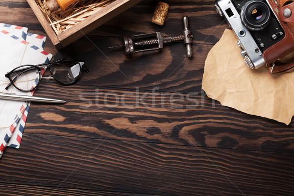 レトロな 表 ヴィンテージ カメラ ワインボトル コークスクリュー ストックフォト © karandaev