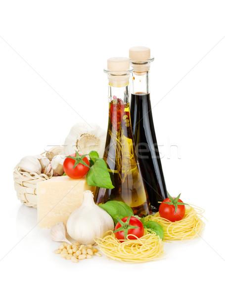 Makaronu pomidory bazylia oliwy ocet czosnku Zdjęcia stock © karandaev