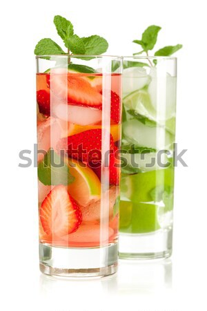 Cocktail collection: Strawberry and classic mojito Stock photo © karandaev