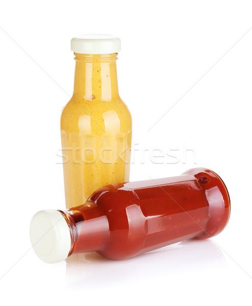 горчица кетчуп стекла бутылок изолированный белый Сток-фото © karandaev