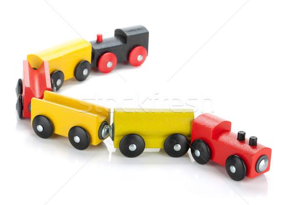 Foto stock: Brinquedo · de · madeira · trem · isolado · branco · bebê