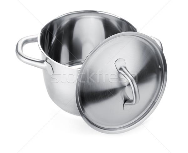 Rozsdamentes acél edény izolált fehér étel otthon Stock fotó © karandaev