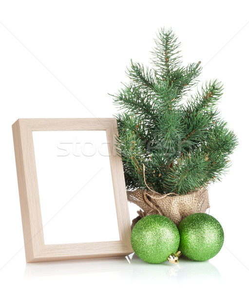 Photo frame, christmas tree and baubles Stock photo © karandaev