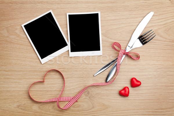 фото кадры сердце конфеты столовое серебро деревянный стол Сток-фото © karandaev