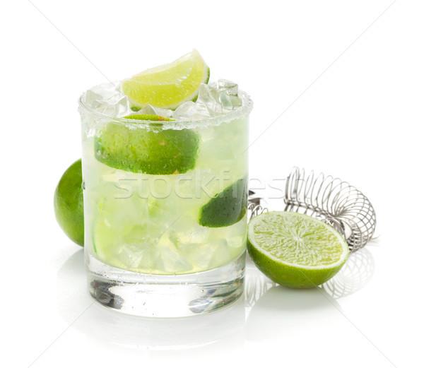 Klassiek cocktail kalk zout rand geïsoleerd Stockfoto © karandaev