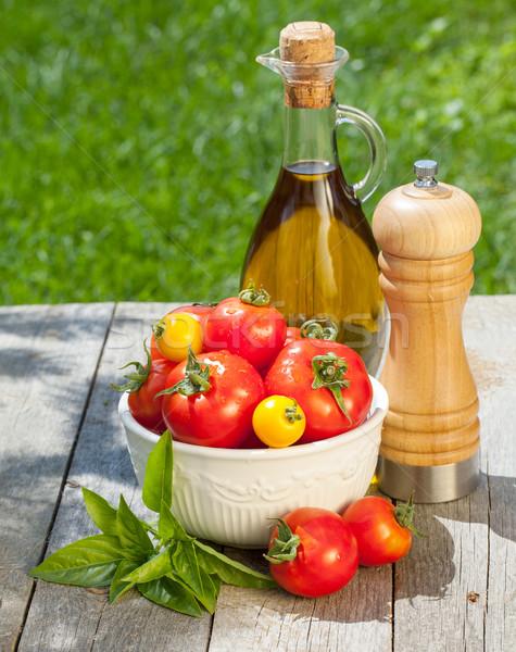 Friss érett paradicsomok olívaolaj üveg bors Stock fotó © karandaev