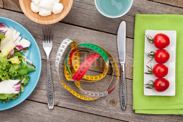 Foto stock: Frescos · saludable · ensalada · tomates · mozzarella · cinta · métrica