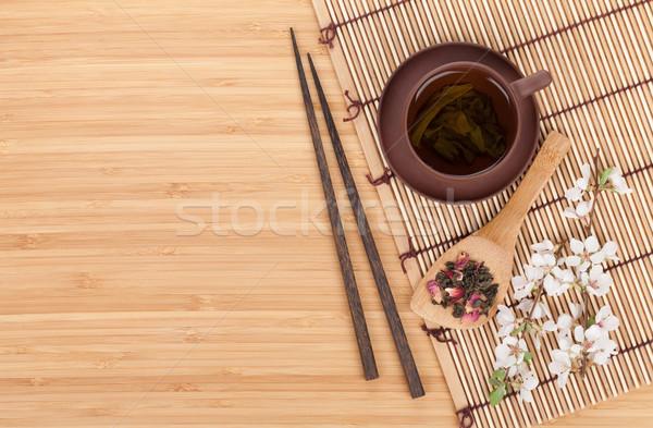 Foto stock: Japonês · chá · verde · sakura · ramo · bambu · tabela