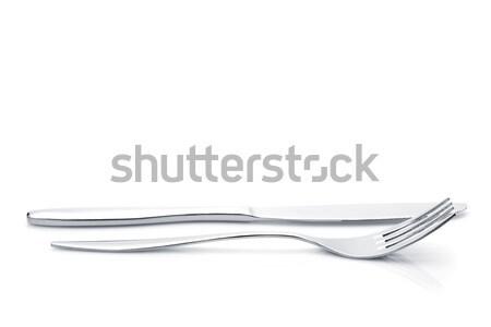 Ezüst étkészlet szett villa kés izolált fehér Stock fotó © karandaev